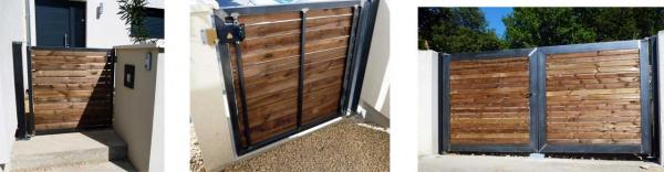portail acier et bois. Black Bedroom Furniture Sets. Home Design Ideas